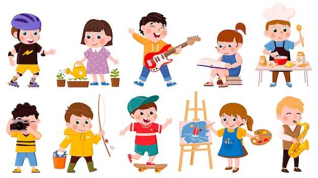 Hobby dla dzieci. kreskówka dzieci w wieku szkolnym lub przedszkolnym gotować, czytać, rysować i odtwarzać muzykę, kreatywne hobby dla dzieci wektor zestaw ilustracji. aktywne hobby dla dzieci
