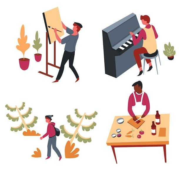Hobby działalność rekreacyjna lub rozrywka sztuka i rozrywka wektor ręcznie robione rzemiosło grające muzykę rysowanie i gotowanie sztalugowe klucz fortepianowy kucharz w fartuchu