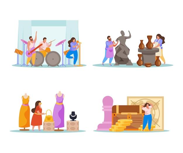 Hobby flat people 4x1 zestaw kompozycji z doodle ludzkimi postaciami grającymi muzykę rzeźbiącą projektowanie ubrań