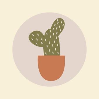 Hobby okładka wyróżnienia na instagramie, kaktus doodle w wektorze projektu w tonacji ziemi