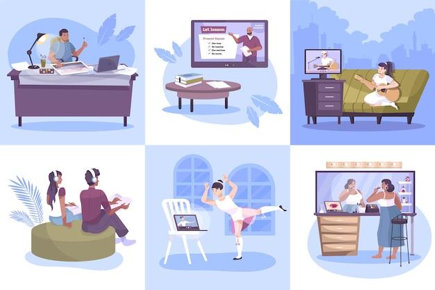 Hobby online zestaw kwadratowych kompozycji z płaskimi ludzkimi postaciami ćwiczącymi w domu z ilustracją zdalnych nauczycieli