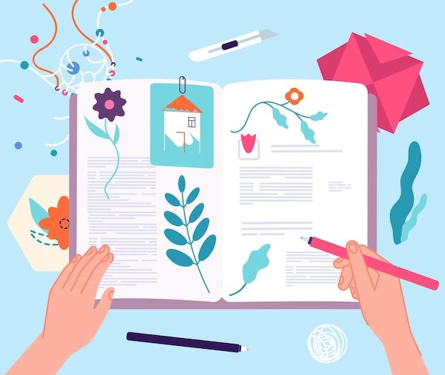 Hobby scrapbooking. książka z suchymi roślinami, notatnikiem lub rzemiosłem.