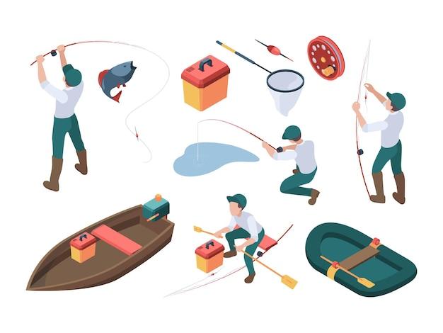 Hobby wędkarskie. sportowy rybak relaksujący w naturze spinning i gumową łódkę w rzece wektor izometryczny ludzie