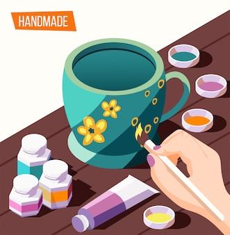 Hobby wykonuje ręcznie izometryczny z kobietą maluje filiżankę 3d