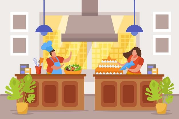 Hobbystyczna kompozycja płaskich ludzi z widokiem na kuchnię z postaciami bez twarzy robiących sałatkę i ciasto
