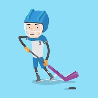 Hokeista na lodzie ilustracji wektorowych.