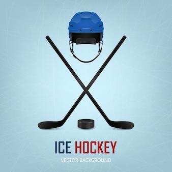 Hokej na lodzie kask, krążek i skrzyżowane kije na tle lodowiska.