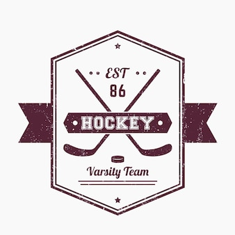 Hokej na lodzie vintage godło, logo ze skrzyżowanymi kijami, grunge tekstur
