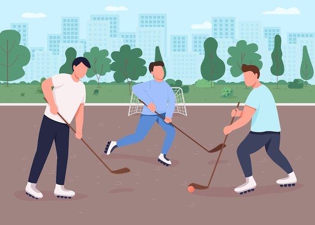 Hokej na trawie płaski kolor ilustracja. ludzie bawią się na publicznym miejskim placu zabaw. konkurencyjna gra sportowa na świeżym powietrzu. zespół graczy 2d postaci z kreskówek z miejskim parkiem w tle