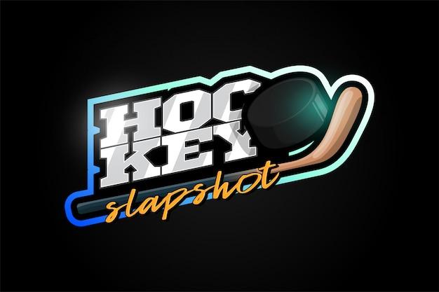 Hokejowa maskotka nowoczesny profesjonalny sport typografia w stylu retro.