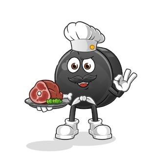 Hokejowy krążek szefa kuchni z maskotką mięsa