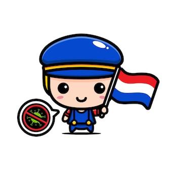 Holandia chłopiec z flagą przeciwko wirusowi