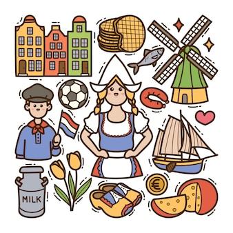 Holandia doodle ilustracja na białym tle