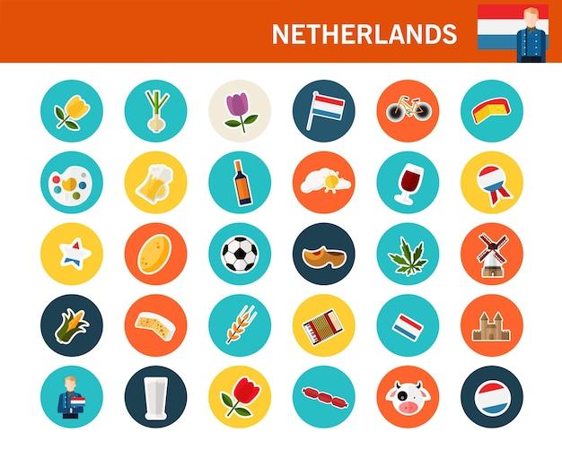 Holandia koncepcja płaskie ikony