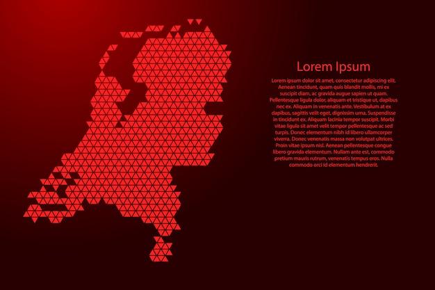 Holandia mapa abstrakcyjny schemat z czerwonych trójkątów powtarzających się geometrycznie z węzłami na baner, plakat, kartkę z życzeniami. .