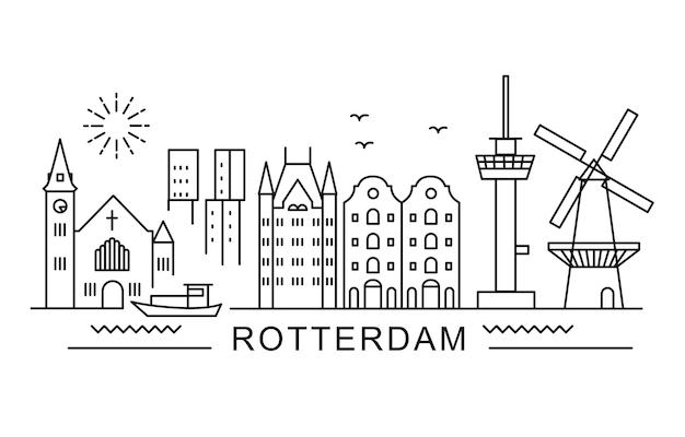 Holandia, rotterdam. architektura panoramy miasta