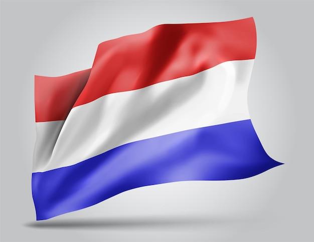 Holandia, wektor flaga z falami i zakrętami macha na wietrze na białym tle.