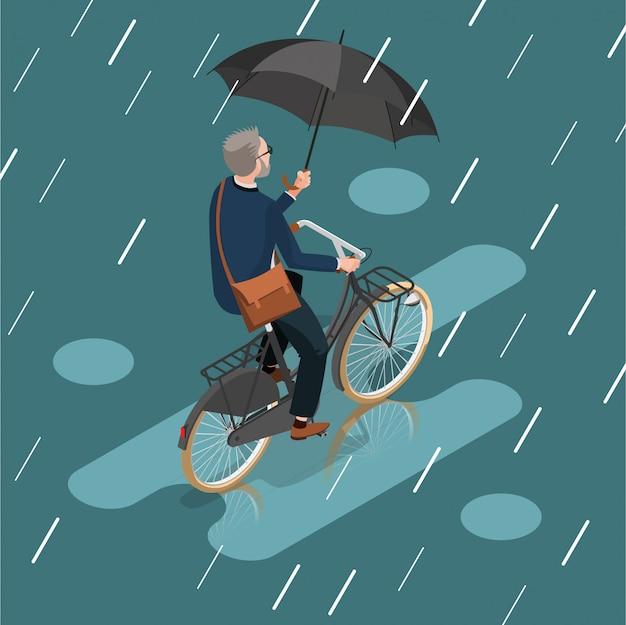 Holenderski rowerzysta pod deszczem