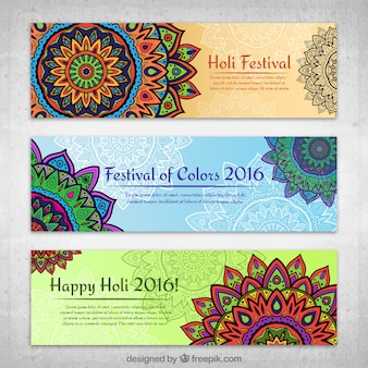 Holi festival mandale banery