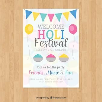 Holi festiwal party plakat w płaskiej konstrukcji