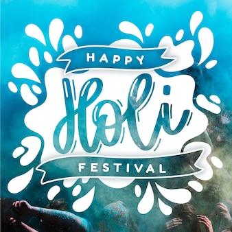 Holi festiwal ręcznie rysowane napis