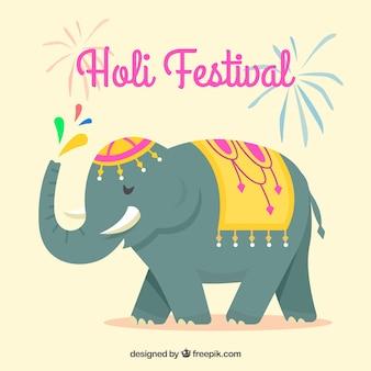 Holi festiwalu płaski tło z słoniem