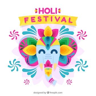 Holi festiwalu tło z słoniem