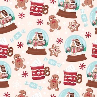 Holiday christmas globe herbatniki desery i słodycze wzór