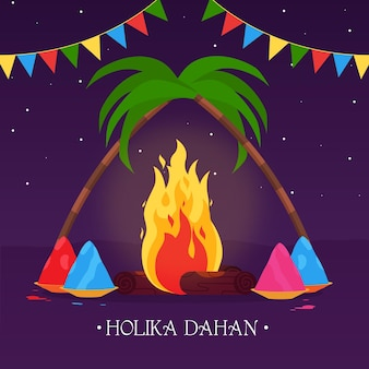 Holika dahan ilustracja z ogniskiem i girlandami