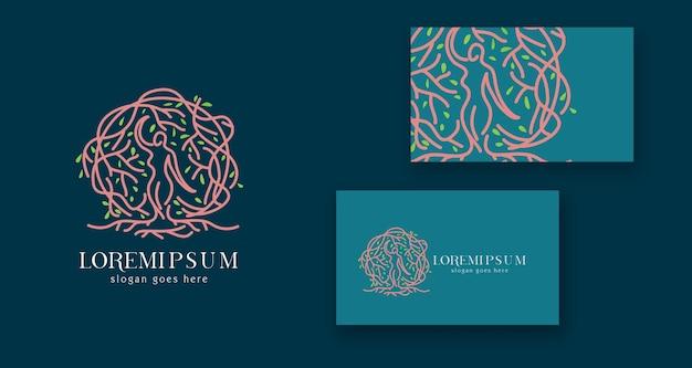 Holistyczny korzeń drzewa kobieta minimalne kobiece logo