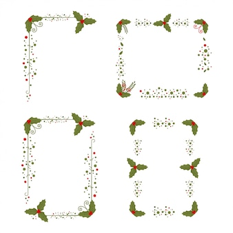 Holly berry ramki christmas zdobione elementy na białym.