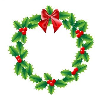 Holly christmas wieniec z czerwoną wstążką
