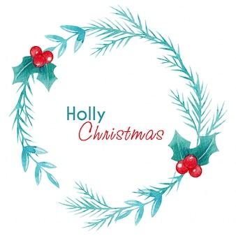 Holly jagody akwarela wieniec świąteczny