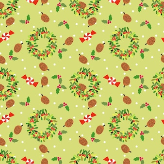 Holly jemioła i świąteczne cukierki bezszwowe wzór