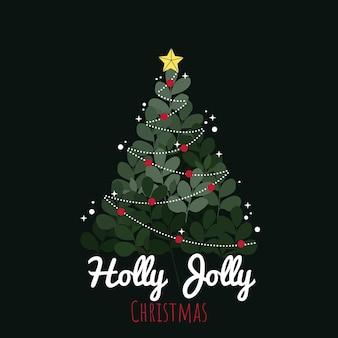 Holly jolly choinka ozdobiona gwiazdkami i girlandą