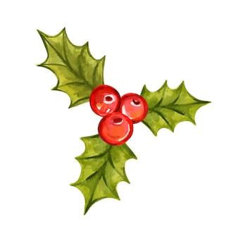 Holly oddział akwarela wektor ilustracja symbol bożego narodzenia