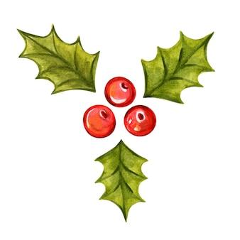 Holly oddział handdrawn akwarela wektor ilustracja boże narodzenie holly jagody symbol bożego narodzenia