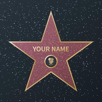 Hollywoodzka gwiazda sławy. nagroda oscara dla gwiazd filmu, granitowe gwiazdy uliczne dla znanych aktorów, filmy o sukcesach, zdjęcia