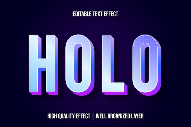 Holo 3d text effect style