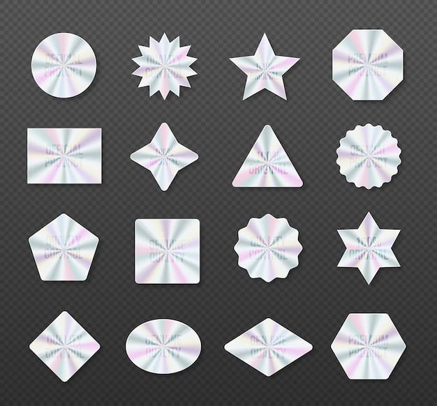 Holograficzne naklejki hologramowe etykiety o różnych kształtach symbol produktu certyfikacyjnego