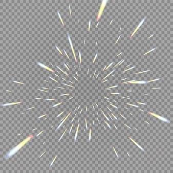 Holograficzne przezroczyste odbicia flary na białym tle.
