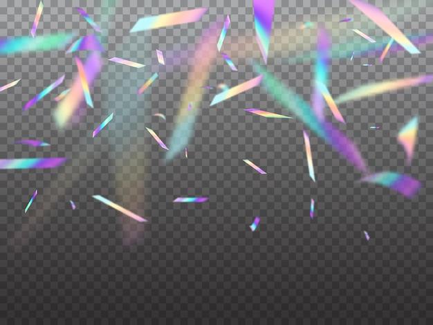 Holograficzne spadające konfetti mieni się światłem bokeh. wektor hologram opalizujący folia spada z góry na przezroczystym tle. tęczowy świąteczny blichtr z blaskiem na świętowanie