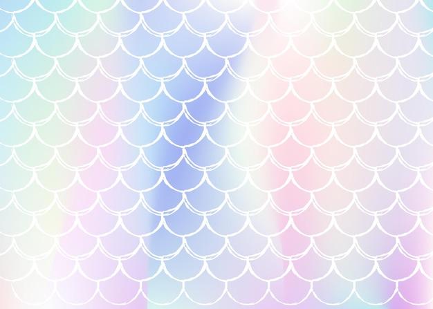 Holograficzne syrenka tło z skalami gradientu. jasne przejścia kolorów. transparent ogon ryby i zaproszenie. podwodny i morski wzór na dziewczęcą imprezę. futurystyczny tył z holograficzną syrenką.