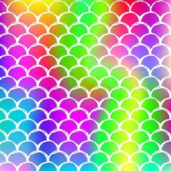 Holograficzne syrenka tło z skalami gradientu. jasne przejścia kolorów. transparent ogon ryby i zaproszenie. podwodny i morski wzór na imprezę. kolorowe tło z holograficzną syrenką.