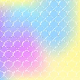 Holograficzne syrenka tło z skalami gradientu. jasne przejścia kolorów. transparent ogon ryby i zaproszenie. podwodny i morski wzór na imprezę. perłowe tło z holograficzną syrenką.