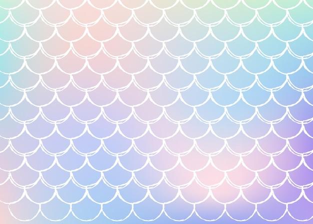 Holograficzne syrenka tło z skalami gradientu.