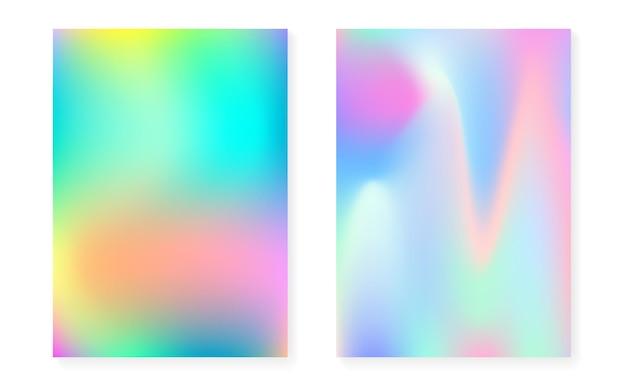 Holograficzne tło gradientowe z pokrywą hologramu. lata 90-te, 80-te w stylu retro. opalizujący szablon graficzny do książki, interfejsu rocznego, mobilnego, aplikacji internetowej. żywy minimalny gradient holograficzny.