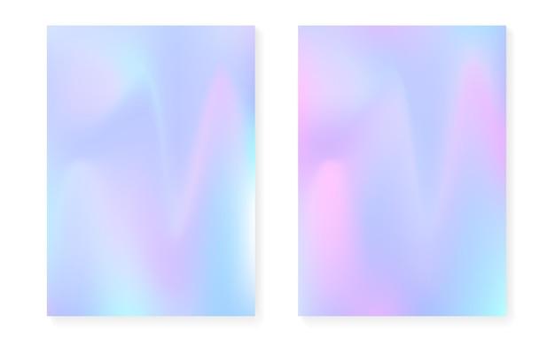 Holograficzne tło gradientowe z pokrywą hologramu. lata 90-te, 80-te w stylu retro. opalizujący szablon graficzny do ulotki, plakatu, banera, aplikacji mobilnej. jasny minimalny gradient holograficzny.