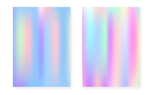Holograficzne tło gradientowe z pokrywą hologramu. lata 90-te, 80-te w stylu retro. opalizujący szablon graficzny na afisz, prezentację, baner, broszurę. hipster minimalny holograficzny gradient.
