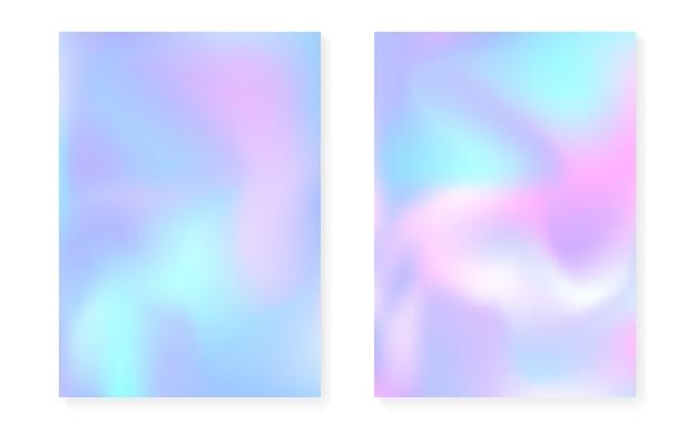 Holograficzne tło gradientowe z pokrywą hologramu. lata 90-te, 80-te w stylu retro. opalizujący szablon graficzny na afisz, prezentację, baner, broszurę. wielokolorowy minimalny gradient holograficzny.